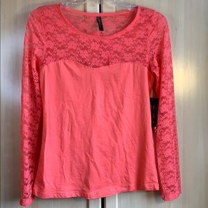 NEW Junior's Solid Coral Lace Long Sleeve Blouse